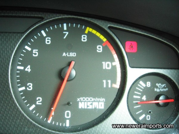 Oil pressure when at normal operating temp: 3 kg/cm2 - an excellent sign of a good engine with plenty of life remaining.