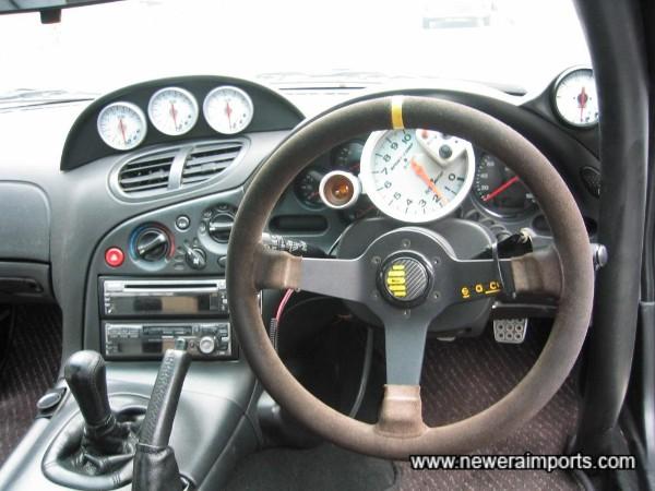 Sparco suede steering wheel.