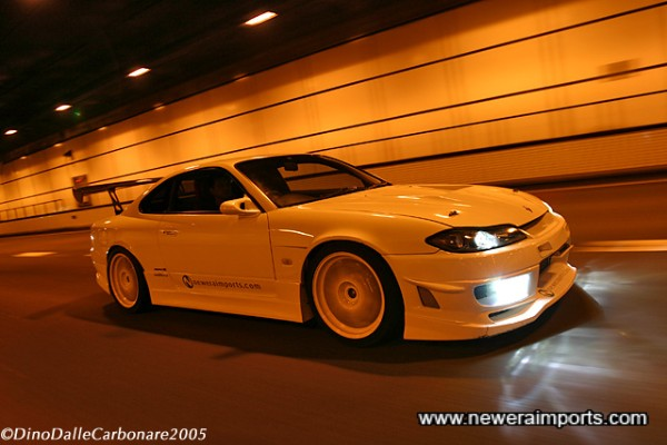 In action on the Wangan, Tokyo 2005.
