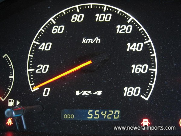 Odometer shows mileage before recalibration in UK.