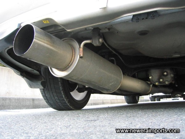 Uprated cat back exhaust system (Note there's a dent on the underside - doesn't affect sound or performance though).