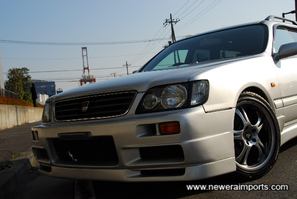 Front bumper is R34 GT-R style.