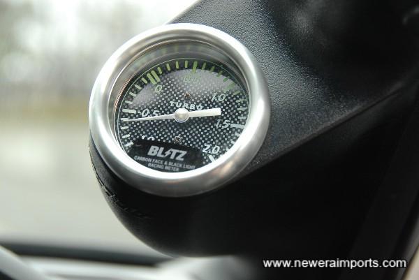 Blitz A pilar mounted boost gauge.