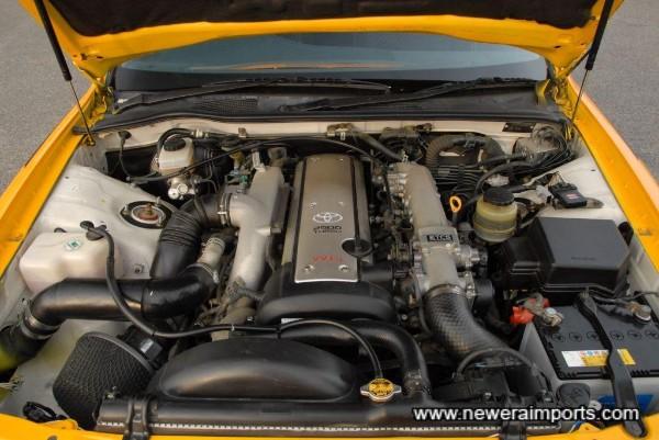 2.5 VVTi Twin turbo 26 valve twin cam makes approx 300 bhp.