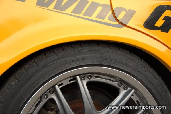 Toyo Tyres - showing rear tire size.
