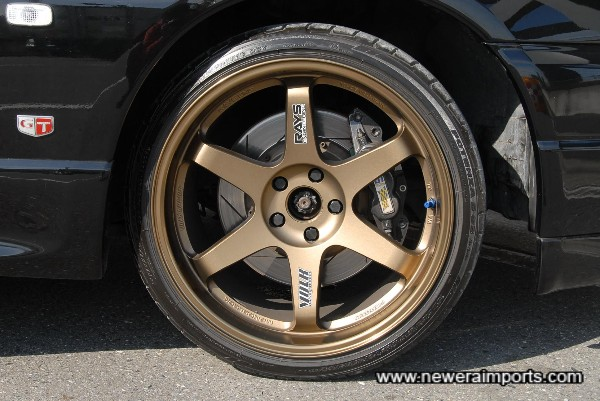 Super Light TE37 Forged Alloy Wheels are 19 x 10.5 + 15 Size....The biggest wheels available to fit a GT-R.