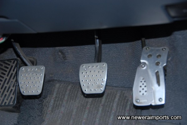 Alloy pedal covers.