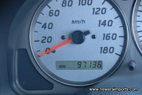 Odometer shows mileage in km, before recalibration to miles in UK.