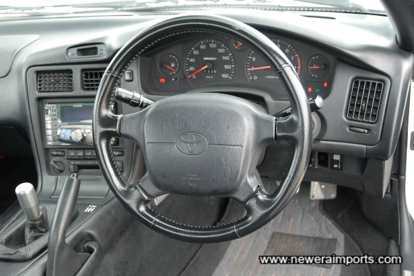 Steering column is adjustable for angle.