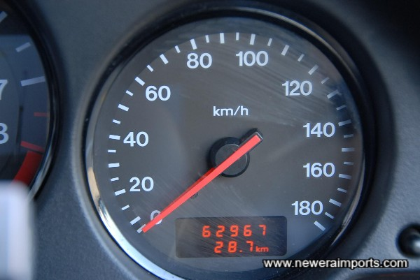 Odometer shows kms before recalibration to miles in UK.