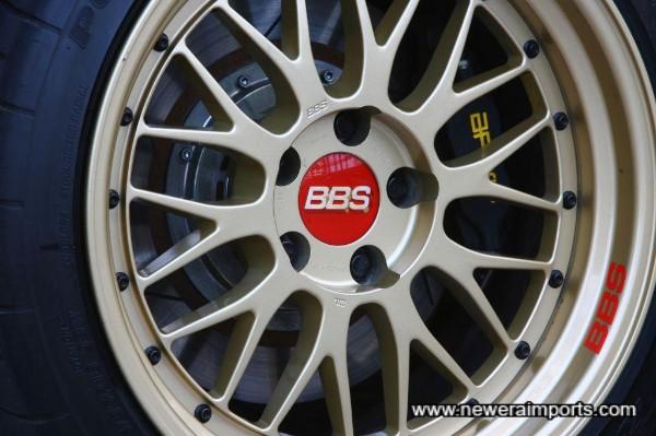 Genuine 18 x 10 BBS LM wheels, wearing the best road tyres (Bridgestone Potenza RE-01R's).