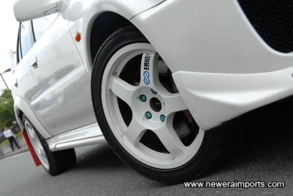Enkei Tarmac Evo forged alloy racing wheels.