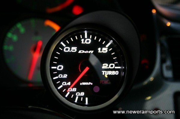 Defi (60mm) black face boost gauge (With controller).