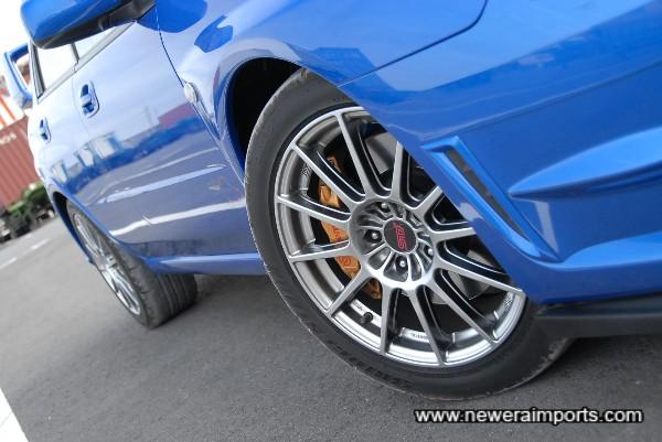 Wheels are unique to the Sti Spec C Type RA.
