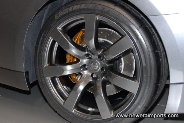 20'' wheels. 9.5'' wide at the front and 10.5'' wide at the rear