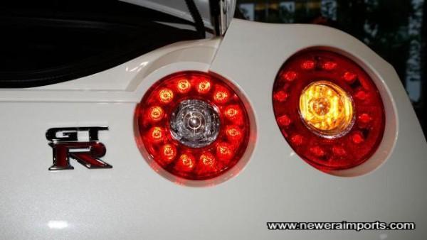 Turn signal is orange only when lit.