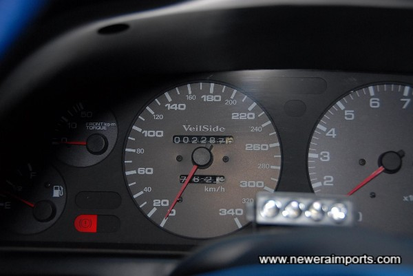 Veilside Speedo. Changed when original speedo showed 60,701km.