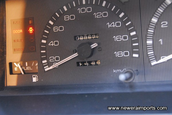 Odometer shows mileage in kms.