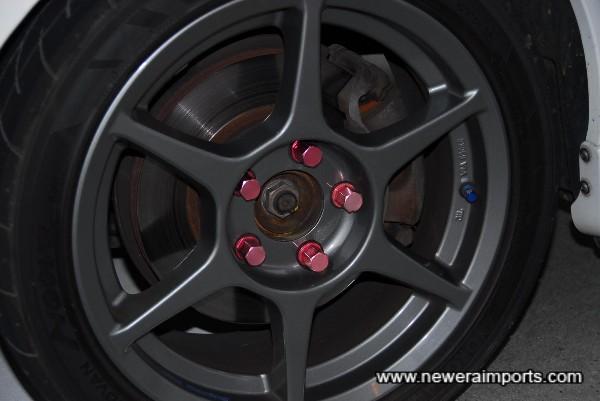 Rays Lightweight Racing Wheel nuts with lock.