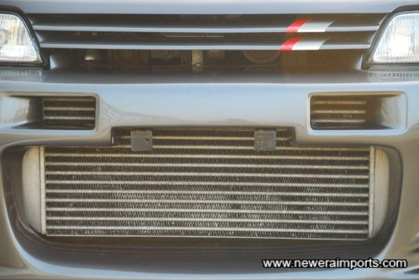 Uprated intercooler with hard pipe kit.