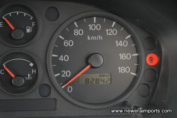 Odometer shows kms, before conversion to miles in the UK.