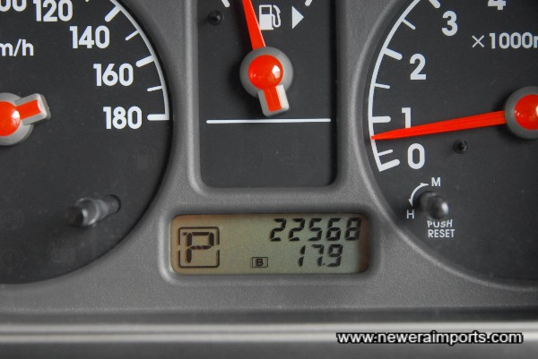 Odometer shows mileage in KM before conversion to show total miles in UK.