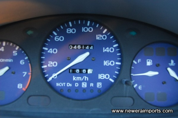 Odometer shows kms before recalibration to miles in UK. Note this may not be actual mileage when car is sold.