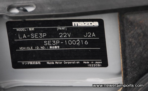 Original Chassis plate - Full accompanying documentation shows this is the car that was used in the movie.