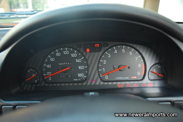 Odometer shows mileage in kms before recalibration to miles in UK.
