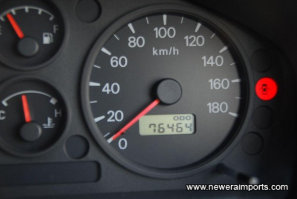 Odometer shows km before conversion.