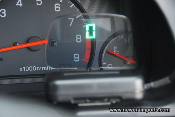 Heads up speedo display (Can be located by the windscreen).