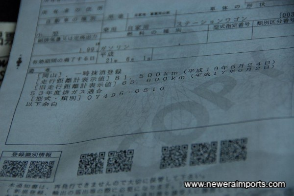 Japanese registration document shows mileage (Km) on 2 previous Bi-Annual Shaken tests.