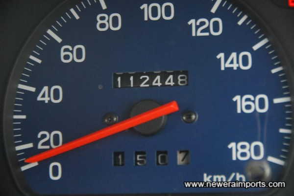 Odometer shows km.