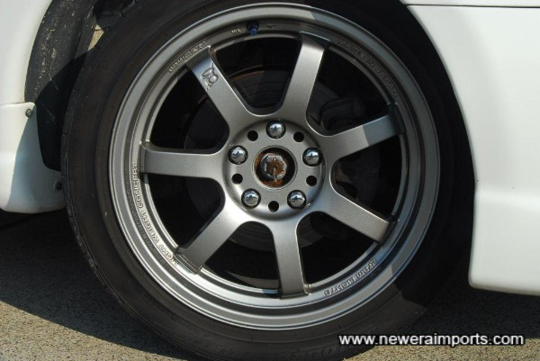 Gram Lights (Produced by RAYS foundry in Japan) 17'' 57S alloy wheels.