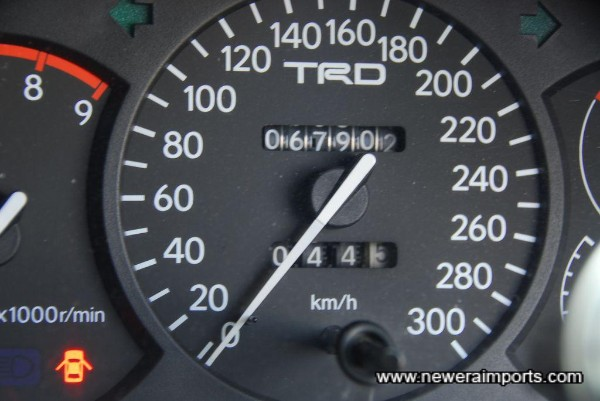 TRD 300 km/h Speedo. KM shown = 42,200 miles.