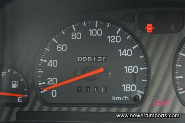 Odometer shows mileage in KM from new.