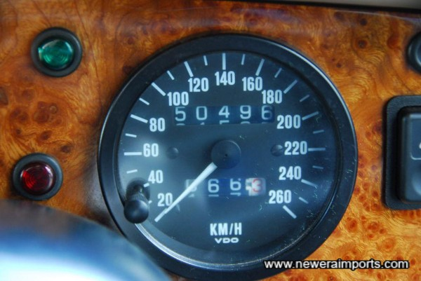 Odometer shows mileage in km 31,383 miles from new.