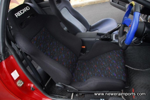 Recaro driver's seat is in excellent condition.