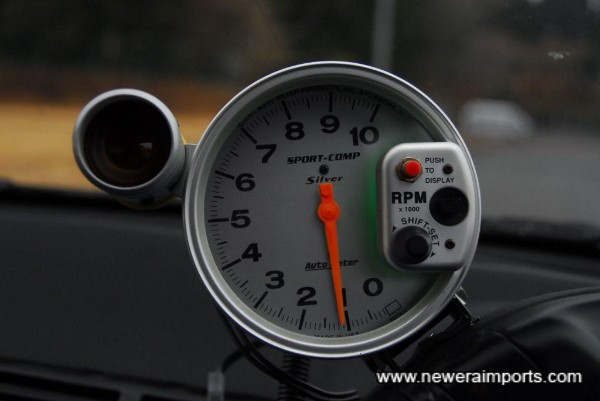Sport comp drag style rev counter with user settable shift light.