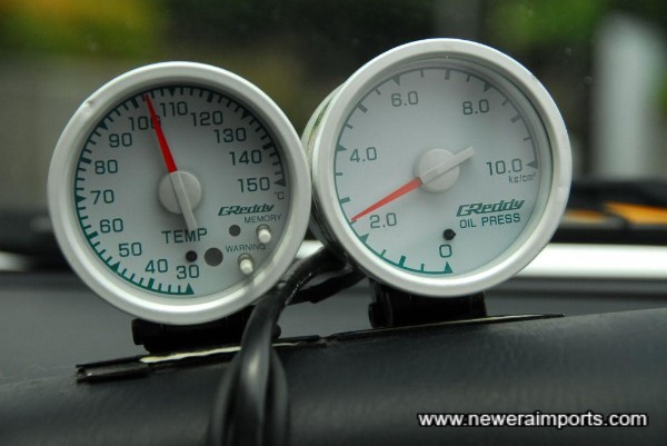 Greddy temp & pressure gauges.