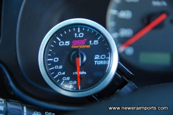 Subaru STi (Genome - Defi) original option boost gauge.