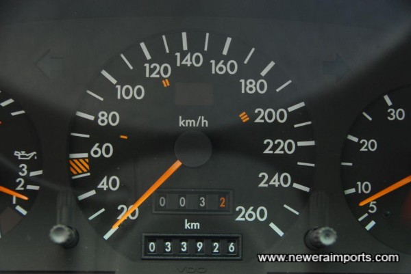 Odometer shows mileage in km (21,085 miles) from new.