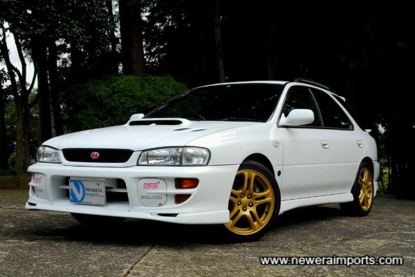 Note crystal style headlights - as fitted to Sti 5 models GC8 / GF8 onward