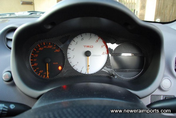 TRD instruments include a 240km/h speedometer & 10,000 rev meter.