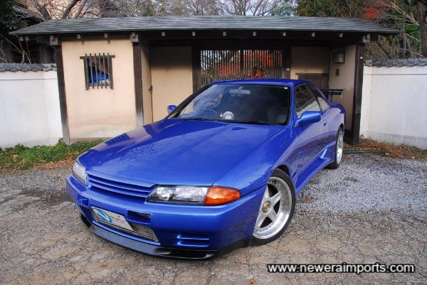 This stunning R32 GT-R has been colour changed to Bayside Blue Metallic (TV2).