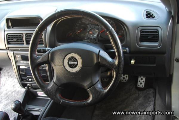 Leather SRS Momo steering wheel.