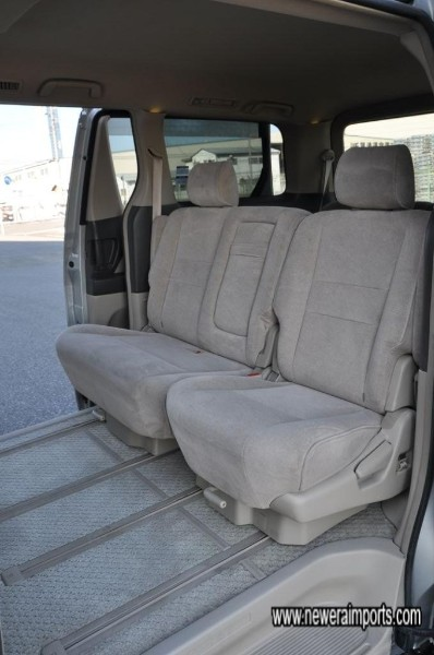 Mid seats are slidable for easy adjustment of leg room.