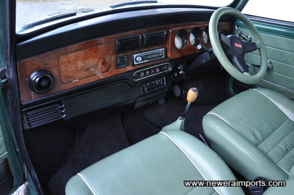 Walnut veneer dashboard.