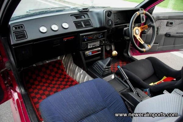 Greddy gauges on the dashboard.