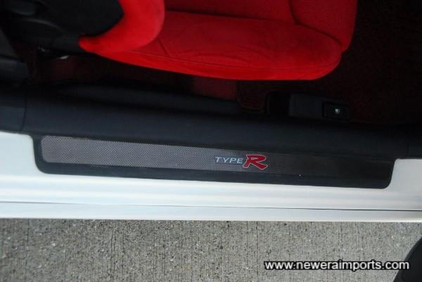 Carbon door sill trim.